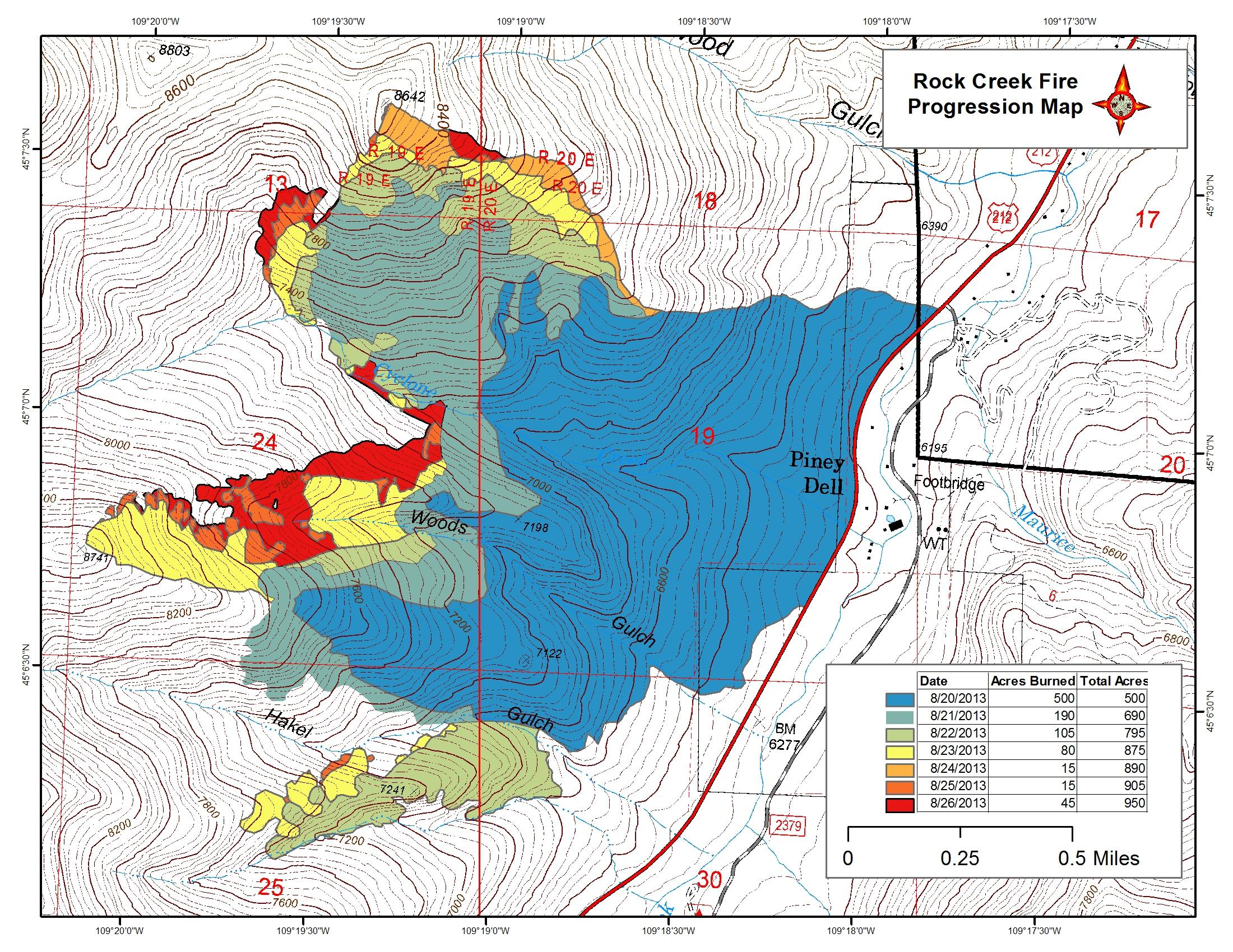 Rock Creek Fire map